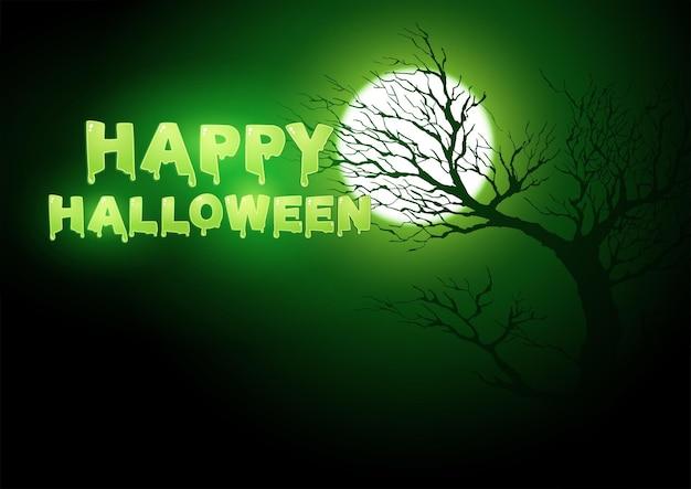 Fröhlicher halloween-text mit vollmond und gruseligem totem baum als dekoration, vektorillustration für halloween-thema