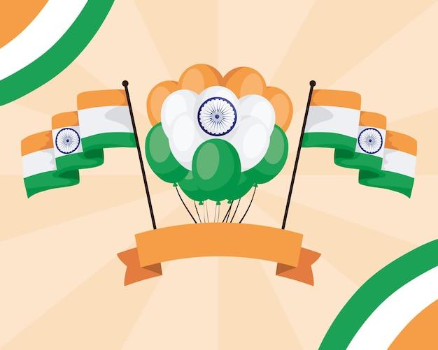 Fröhlicher indien-unabhängigkeitstag mit luftballons und flaggen
