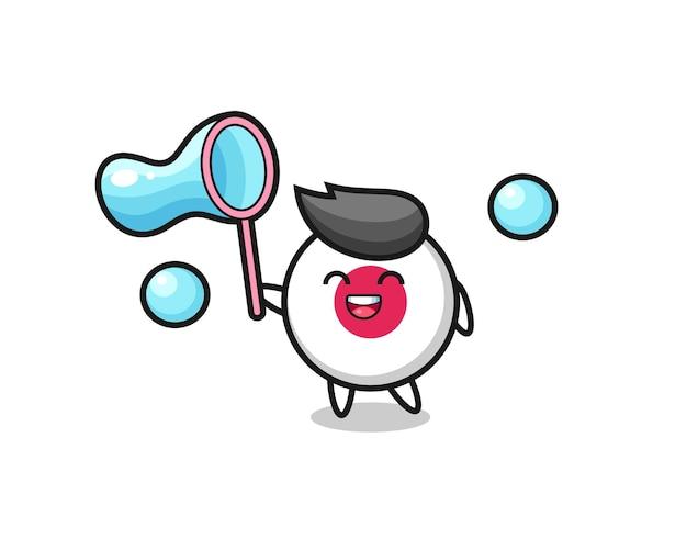 Fröhlicher japan-flaggen-abzeichen-cartoon, der seifenblase spielt, niedliches design für t-shirt, aufkleber, logo-element