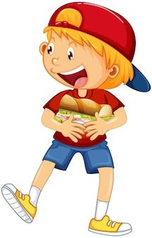 Fröhlicher junge cartoon-figur umarmt essen sandwich