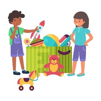 Fröhlicher junge junge, mädchen, das spielzeug zusammen spielt, schachtelkarton mit kinderspielzeug flache illustration