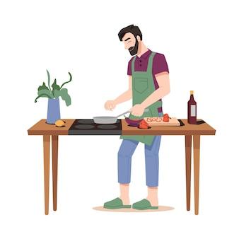 Fröhlicher kerl brät essen isolierten flachen cartoon-mann, der abendessen auf dem herd am holztisch mit topf kocht
