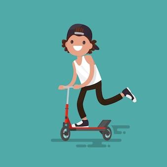 Fröhlicher kerl, der eine rollerillustration reitet