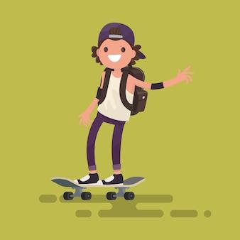 Fröhlicher kerl, der eine skateboardillustration reitet