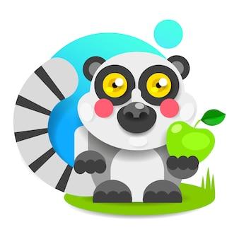 Fröhlicher lemur mit rosa backen sitzt auf dem gras und dem lächeln