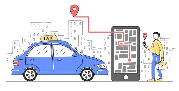 Fröhlicher mann, der kabine über mobile app illustration nimmt