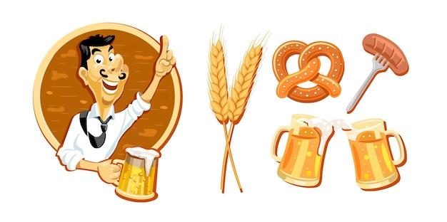 Fröhlicher mann mit einem glas bier bier set aus verschiedenen artikeln krug bier weizenwürste weizenpretz