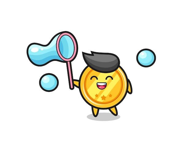 Fröhlicher medaillen-cartoon, der seifenblase spielt, niedliches design für t-shirt, aufkleber, logo-element