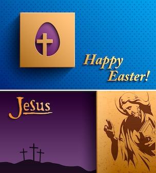 Fröhlicher osterhintergrund, osterkarte mit einem bild von jesus christus, christentumsreligion osterhintergrund, osterhintergrund, vektorillustration