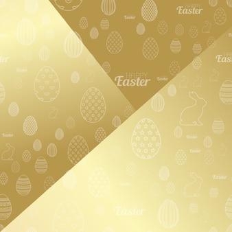Fröhlicher ostern-hintergrund mit goldenen eiern