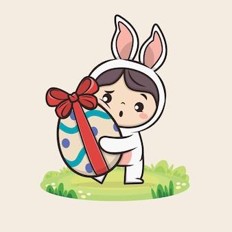 Fröhlicher ostertag mit kawaii niedlichem hasen-kaninchen-illustration