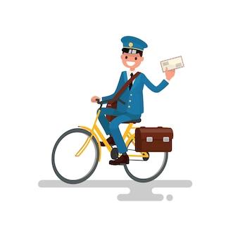 Fröhlicher postbote, der fahrrad fährt.