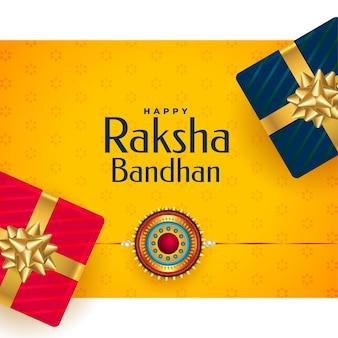 Fröhlicher raksha bandhan rakhi festivalgruß mit geschenkboxen