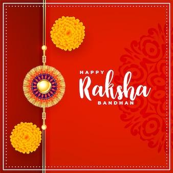 Fröhlicher raksha bandhan traditioneller roter hintergrund mit blumendekoration