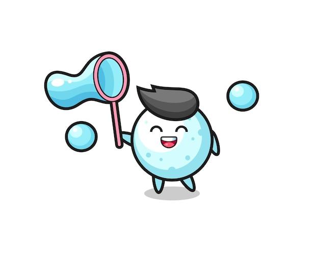 Fröhlicher schneeball-cartoon, der seifenblase spielt, niedliches design für t-shirt, aufkleber, logo-element