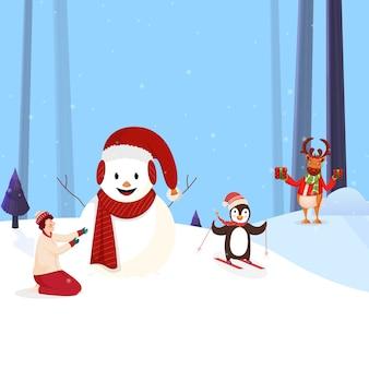 Fröhlicher schneemann, der weihnachtsmütze mit schal trägt