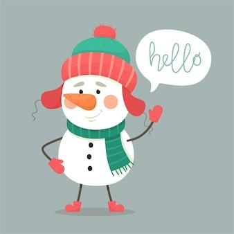 Fröhlicher schneemann mit sprechblase.
