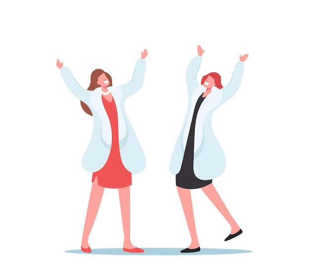 Fröhlicher shopaholic girls-charakter freut sich über teure kleidungskäufe. glückliche frau trägt luxus-pelzmäntel, weibliche käufer, die spaß beim markeneinkaufen haben. cartoon-menschen-vektor-illustration