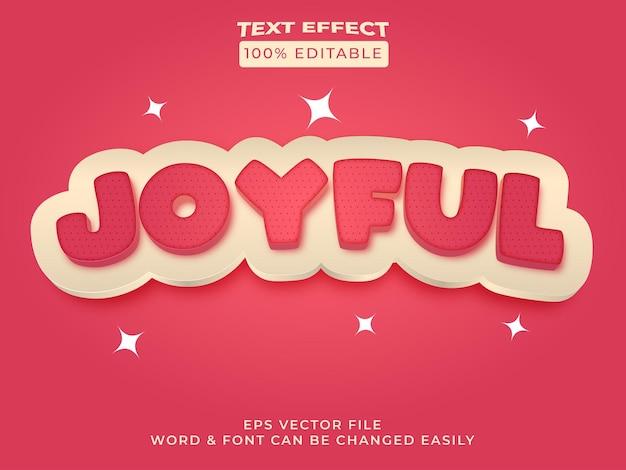Fröhlicher texteffektstil bearbeitbarer texteffekt rote farbe mit mustertextur
