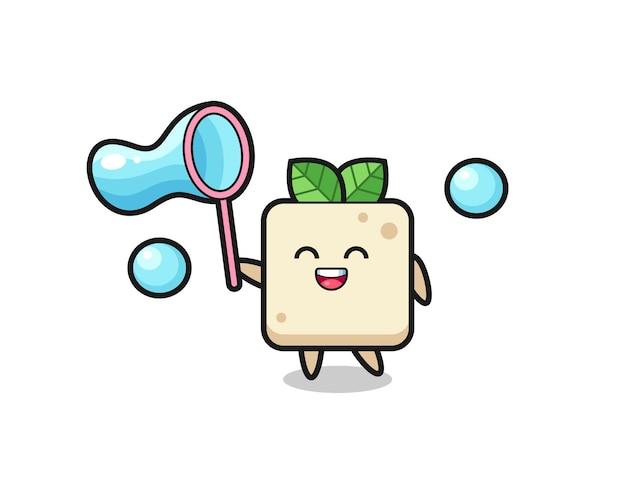 Fröhlicher tofu-cartoon, der seifenblase spielt, niedliches design für t-shirt, aufkleber, logo-element