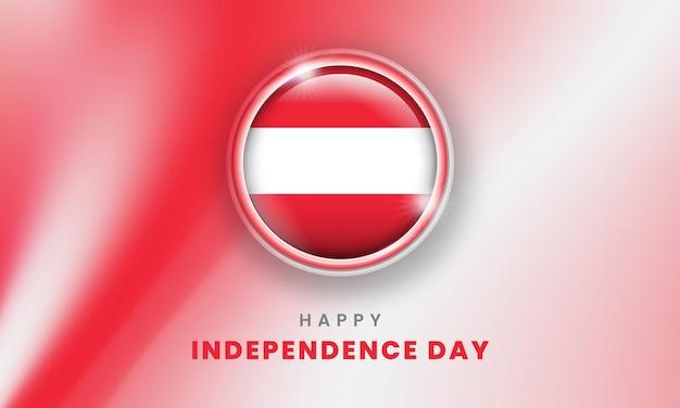 Fröhlicher unabhängigkeitstag von österreich-banner mit österreicher 3d-flaggenkreis