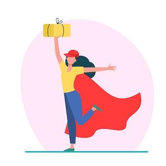 Fröhlicher weiblicher kurier im superheldenumhang. frau in der baseballkappe, die paket flache vektorillustration hält. lieferung, logistikservice