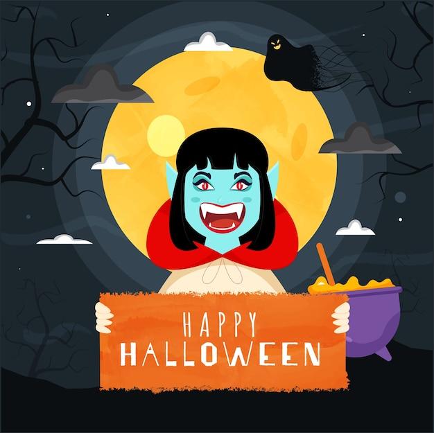 Fröhlicher weiblicher vampir, der glückliches halloween-textbrett mit geist und kessel auf grauem vollmond-hintergrund für feier hält.