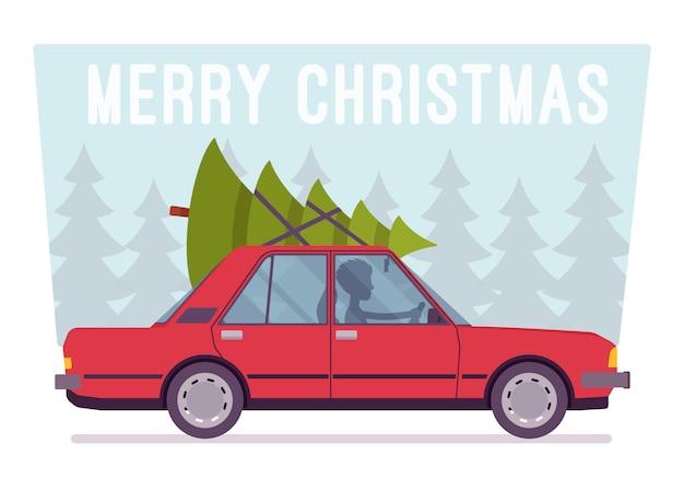 Fröhlicher weihnachtsbaum auf die oberseite des autos