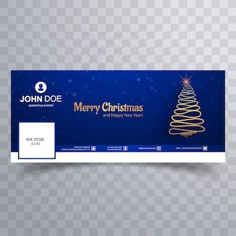 Fröhlicher weihnachtsbaum mit facebook-abdeckungsfahnenschablone