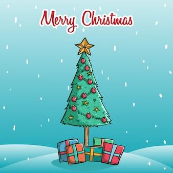 Fröhlicher weihnachtsbaum mit geschenkbox in der schneeinsel mit schneeflocke