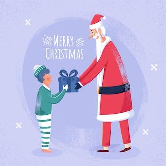 Fröhlicher weihnachtsmann, der dem jungen auf hellem lila lärmeffekthintergrund geschenkbox für frohe weihnachtsfeier gibt.