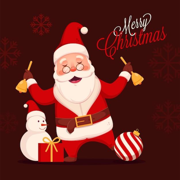 Fröhlicher weihnachtsmann, der klingelglocken mit schneemann, spielerei und geschenkbox auf burgunderbraunem schneeflockenhintergrund für frohe weihnachtsfeier hält.