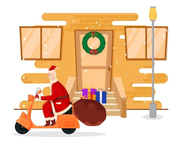 Fröhlicher weihnachtsmann, der roller reitet und die geschenkbox behält