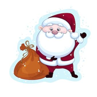 Fröhlicher weihnachtsmann mit einer tasche von geschenken, die seine hand auf hintergrund mit schnee winken. weihnachtsfigur.