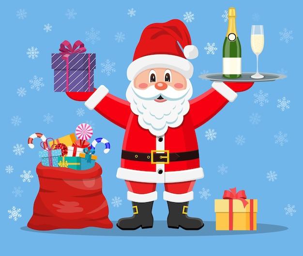 Fröhlicher weihnachtsmann mit geschenken
