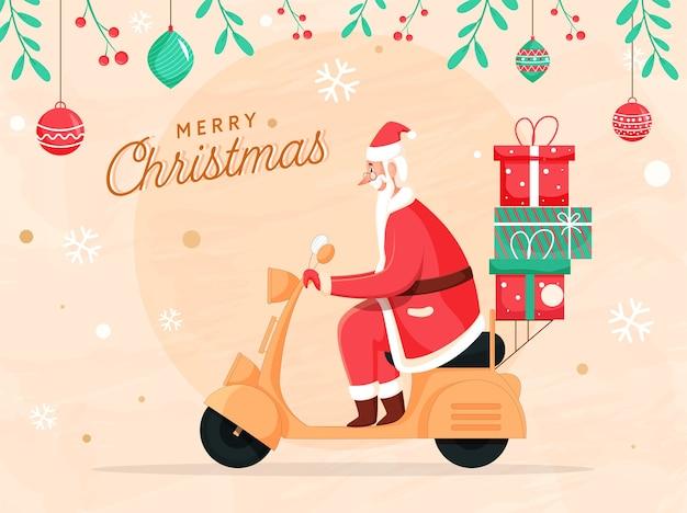 Fröhlicher weihnachtsmann-roller mit geschenkboxen