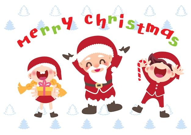 Fröhlicher weihnachtsmann und chlidren