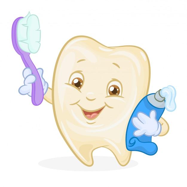 Fröhlicher zahn mit zahnpasta und einer zahnbürste in den händen.