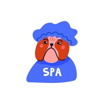 Fröhliches cartoon-porträt der englischen bulldogge