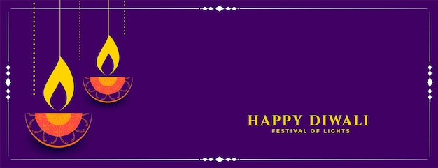 Fröhliches diwali dekoratives festival diya banner