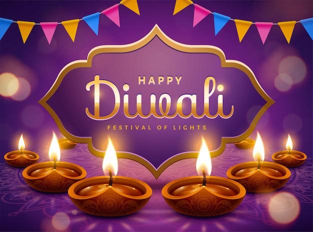 Fröhliches diwali-design mit diya-öllampen und partyflaggen auf glitzernden lila hintergrund