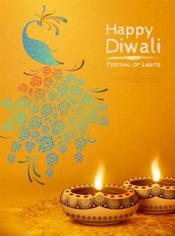 Fröhliches diwali-design mit öllampen rangoli und pfau auf chromgelbem hintergrund