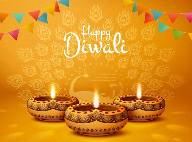 Fröhliches diwali-design mit öllampen und pfauenchromgelbem hintergrund