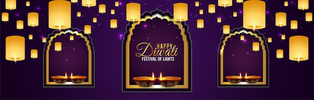 Fröhliches diwali-feier-banner diwali das fest des lichts