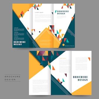 Fröhliches dreifach gefaltetes broschüren-vorlagendesign mit dreieckselement Premium Vektoren