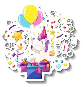 Fröhliches einhorn mit geschenkbox und konfettiregenbogen