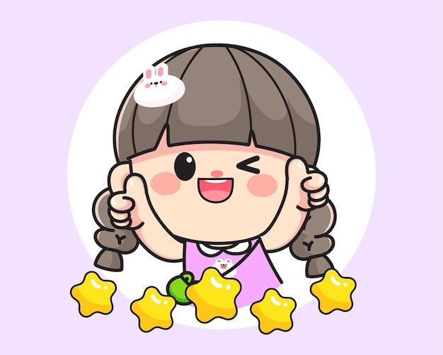 Fröhliches glückliches süßes mädchen, das daumen für produktbewertungen zeigt, logo handgezeichnete cartoon-kunstillustration