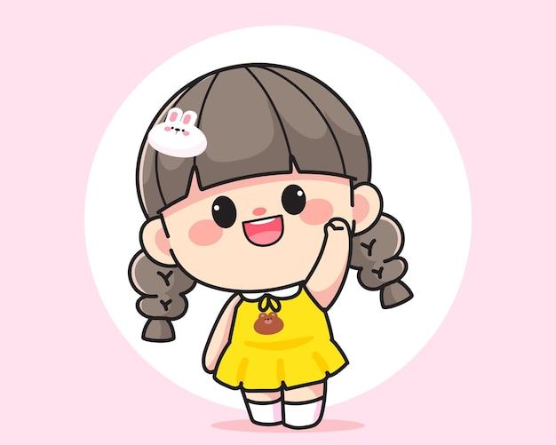 Fröhliches glückliches süßes mädchen winkt mit erhobener hand, um hallo logo handgezeichnete cartoon-kunstillustration zu sagen