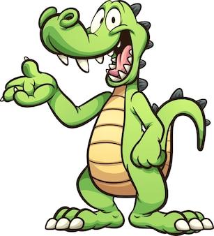 Fröhliches grünes cartoon-krokodil oder alligator, der etwas zeigt
