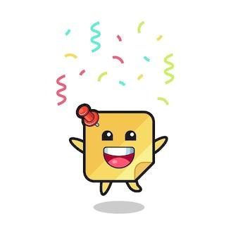 Fröhliches haftnotizen-maskottchen, das für glückwünsche mit farbkonfetti springt, süßes design für t-shirt, aufkleber, logo-element